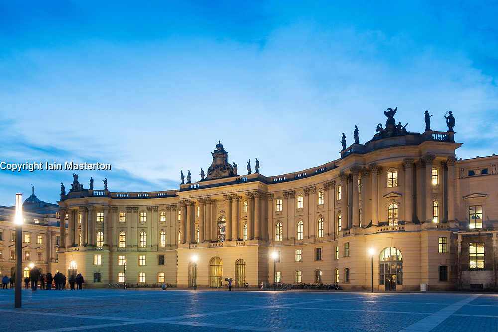 Night exterior view of Law Faculty of Humboldt University in Mitte, Berlin, Germany