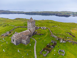 Aerial view from drone of St Clements Church at Rodel on Isle of Harris, Scotland ,UK