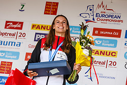 Funk Ricarda (GER) during medal ceremony after Finals during Day 3 of 2018 ECA Kayak - Canoe Slalom European Championships, on June 3rd, 2018 in Troja , Prague, Czech Republic. Photo by Grega Valancic / Sportida