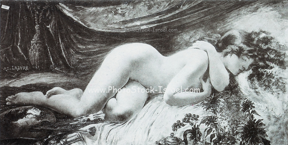 Sleeping woman naked woman lying on her side with closed eyes<br /> from Le Nu au Salon 1893 A collection of Nude photography published in Paris in 1908 by Societe nationale des beaux-arts (France). et Societe des artistes francais. Catalogues of nudes exhibited at the official Paris Salons. Risqué photography is material that is slightly indecent or liable to shock, especially as sexually suggestive.