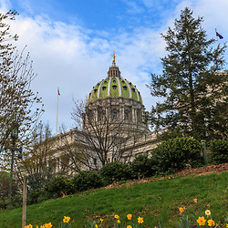Harrisburg, PA, USA - March 25, 2012: Spring at the Pennsylvania State Capital Building in Harrisburg, PA