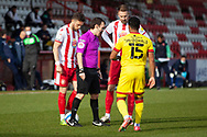 Penalty given to Stevenage during the EFL Sky Bet League 2 match between Stevenage and Walsall at the Lamex Stadium, Stevenage, England on 20 February 2021.