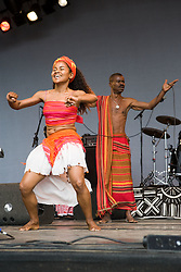 Madagascan performer Jaojoby and dancer on stage at the WOMAD (World of Music; Arts and Dance) Festival in reading; 2005,