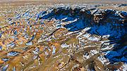 Aerial landscape of the White Cliffs, Tsagaan Suvarga in Mongolia's Gobi Desert, Gobi Desert, Mongolia