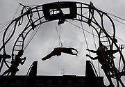 20/07/2019 repro free:No one does circus quite like the French. Les P'Tits Bras performing their heart–stopping acrobatics in Eyre Square as part of Galway International Arts Festival on an enormous and beautiful art nouveaux structure. Spectacle, excitement and audience terror in equal measure!<br /> <br /> Catch them again Sunday 2pm. See giaf.ie for full details<br /> Photo:Andrew Downes, xposure