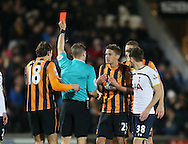 Referee Craig Pawson sends off Gaston Ramirez of Hull City - Barclays Premier League - Hull City vs Tottenham - Kingston Communications  Stadium - Hull - England - 23rd November 2014  - Picture Simon Bellis/Sportimage
