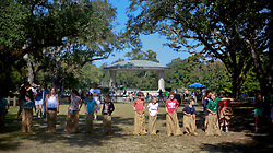 19 October 2014. New Orleans, Louisiana. <br /> Children partake in sack racing at the New Orleans' Irish Network's third Family Day event with fun and games for kids and adults alike. With Irish dancing, egg and spoon and sack races with a good old fashioned tug of war to round things off.<br /> Photo; Charlie Varley/varleypix.com
