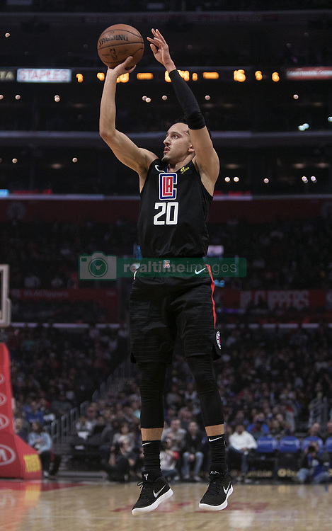March 8, 2019 - Los Angeles, California, U.S - Landry Shamet #20 of the Los Angeles Clippers takes a jump shot during their NBA game with the Oklahoma Thunder on Friday March 8, 2019 at the Staples Center in Los Angeles, California. JAVIER ROJAS/PI (Credit Image: © Prensa Internacional via ZUMA Wire)