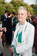 Elaine Sturtevant, The Serpentine Summer Party 2013 hosted by Julia Peyton-Jones and L'Wren Scott.  Pavion designed by Japanese architect Sou Fujimoto. Serpentine Gallery. 26 June 2013. ,