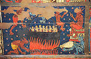 Gothic altar panel depicting scenes of hell with the damned in a colder being heated by the devil. End of the 13th century, tempera on a spruce wooden panel  from  The Church of Sant Miguel de Soriguerola, Cerdanya, Huesca, Spain. Inv MNAC 43901. National Museum of Catalan Art (MNAC), Barcelona, Spain .<br /> <br /> <br /> If you prefer you can also buy from our ALAMY PHOTO LIBRARY  Collection visit : https://www.alamy.com/portfolio/paul-williams-funkystock/gothic-art-antiquities.html  Type -     MANAC    - into the LOWER SEARCH WITHIN GALLERY box. Refine search by adding background colour, place, museum etc<br /> <br /> Visit our MEDIEVAL GOTHIC ART PHOTO COLLECTIONS for more   photos  to download or buy as prints https://funkystock.photoshelter.com/gallery-collection/Medieval-Gothic-Art-Antiquities-Historic-Sites-Pictures-Images-of/C0000gZ8POl_DCqE