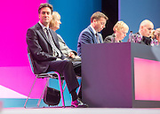 © Licensed to London News Pictures. 21/09/2014. Manchester, UK. Ed Miliband, Harriet Harmen, Iain McNicol, Angela Eagle. Labour Party Conference 2014 at the Manchester Convention Centre today 21 September 2014. Photo credit : Stephen Simpson/LNP