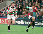 1997 Heineken European Cup,  Quins vs Leicester Tigers, NEC Harlequins V Leicester Tigers,  Stoop 18-4-98. Joel Starnsky [left] Leicester and Chris Sheasby Quins after break away by Leicester, Starnsky went on th score a try  © Peter Spurrier Sports Photo © [Mandatory Credit: Peter Spurrier/Intersport Images].