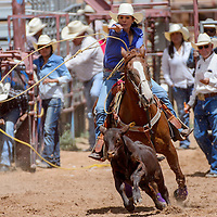 Breakaway roper Marcella Francis slings her lasso at the calf during the Gallup Inter-tribal Indian Ceremonial rodeo Friday at Red Rock Park.