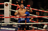 WBA Inter-Continental cruiserweight title.<br /> Nathan Cleverly of Wales celebrates his win v Sean Corbin of Guyana. <br /> pic by Andrew Orchard,