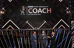 Gareth Southgate receives his award for Coach of the Year during the BBC Sports Personality of the Year 2018 at Birmingham Genting Arena.