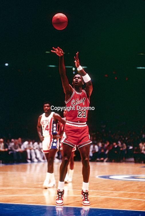 Michael Jordan competing for the NBA Chicago Bulls