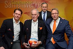 12-12-2015 NED: Bondsvergadering Nevobo, Nieuwegein<br /> Hans Nieukerke is vandaag benoemd tot erevoorzitter van de Nevobo. De 73-jarige Nieukerke ontving in het Huis van de Sport deze eer bij het afscheid van zijn twaalfjarig voorziterschap en kreeg de unieke gouden bondsspeld met drie briljanten opgespeld / Aad Verveld, hans, Peter Sprenger en Jaap Boom