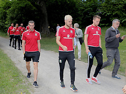 STOCKHOLM, SWEDEN - Sunday, June 5, 2016: Wales' Gareth Bale, Aaron Ramsey and Chris Gunter during a pre-match walk at the Royal Park Hotel ahead of the international friendly match against Sweden. (Pic by David Rawcliffe/Propaganda)