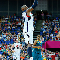 08 August 2012: USA Kobe Bryant takes a three points jumpshot during 119-86 Team USA victory over Team Australia, during the men's basketball quarter-finals, at the 02 Arena, in London, Great Britain.