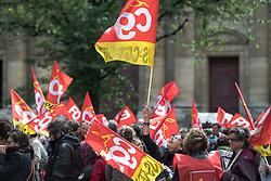 June 6, 2017 - Paris, France - The CGT- aris syndicat protest against Macron's  economic policy in front of the Town hall in Paris, on June 6, 2017. (Credit Image: © Julien Mattia/NurPhoto via ZUMA Press)