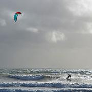 Kite surfing a Cornish sea