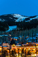 Snowmass/Aspen ski resort at twilight, Snowmass Village (Aspen), Colorado USA.