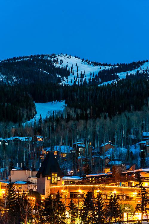 Snowmass/Aspen ski resort at twilight, Snowmass Village (Aspen), Colorado USA.