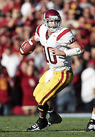 2 December 2006: Quarterback John David Booty (10) in the pocket during Pac-10 college football upset UCLA beat the Trojans 13-9 during the final home game of the season for the UCLA Bruins vs the University of Southern California USC  Trojans at the Rose Bowl in Pasadena, CA.<br />
