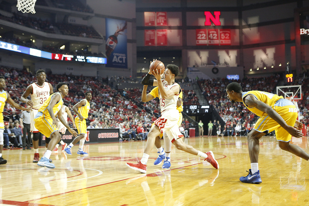 Nebraska Cornhuskers forward Isaiah Roby #15 scores on a layup during Nebraska's 81-76 win over Southern at Pinnacle Bank Arena in Lincoln, Neb. on Dec. 20, 2016. Photo by Aaron Babcock, Hail Varsity