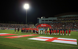 England and Malta line up before the 2018 FIFA World Cup Qualifying, Group F match at the National Stadium, Ta' Qali. PRESS ASSOCIATION Photo. Picture date: Friday September 1, 2017. See PA story SOCCER Malta. Photo credit should read: Nick Potts/PA Wire. RESTRICTIONS: Use subject to FA restrictions. Editorial use only. Commercial use only with prior written consent of the FA. No editing except cropping.