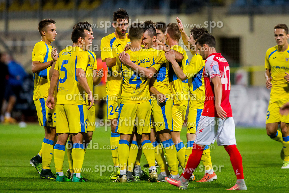 Players of NK Domzale during football match between NK Domžale and NK Aluminij in 6th Round of Prva liga Telekom Slovenije 2017/18, on August 20, 2017 in Sports park Domzale, Domzale. Photo by Ziga Zupan / Sportida