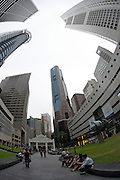Highrise buildings around Raffles Place at the Financial District.