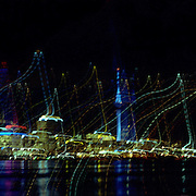 A Panoramic view of Auckland, New Zealand at night showing the Sky Tower on March 14, 2007 Photo Tim Clayton