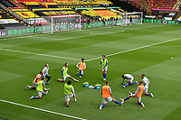Football - 2019 / 2020 Premier League - Watford vs. Leicester City<br /> <br /> Leicester City during the pre-match warm-up, at Vicarage Road.<br /> <br /> COLORSPORT/ASHLEY WESTERN