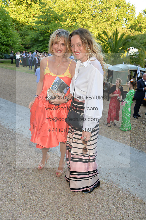 Left to right, COUNTESS MAYA VON SCHOENBURG and ALICE TEMPERLEY at the Quintessentially Foundation and Elephant Family 's 'Travels to My Elephant' Royal Rickshaw Auction presented by Selfridges and hosted by HRH The Prince of Wales and The Duchess of Cornwall held at Lancaster House, Cleveland Row, St.James's, London on 30th June 2015.