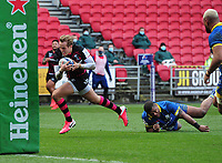 Rugby Union - 2020 / 2021 Heineken Cup - Pool 2 - Bristol Bears vs ASM Clermont Auvergne - Ashton Gate<br /> <br /> Max Malins of Bristol runs over for his first half try<br /> <br /> COLORSPORT/ANDREW COWIE