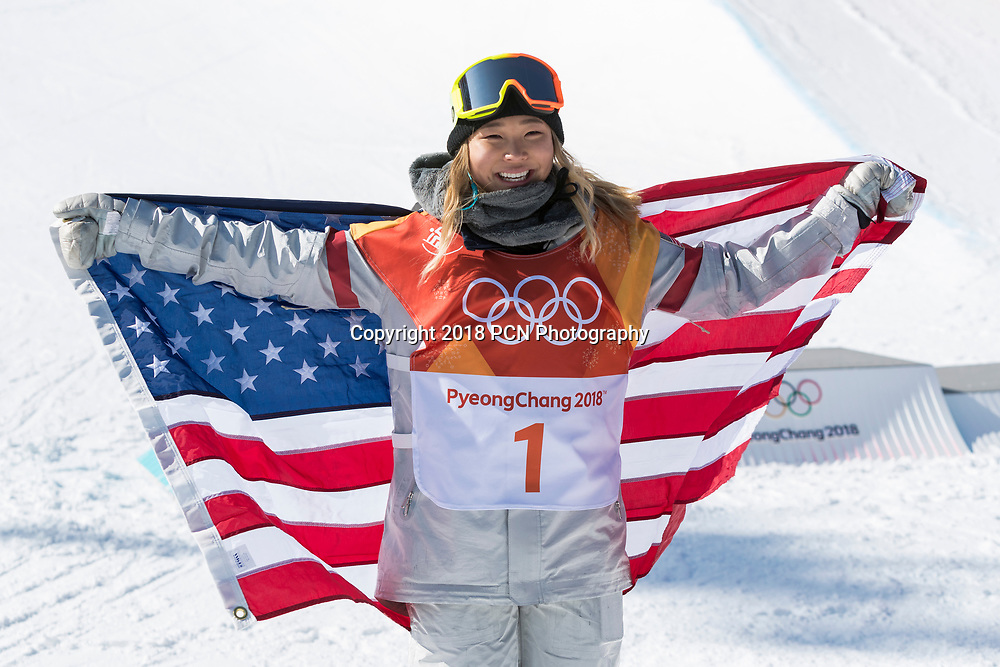Chloe Kim (USA) wins the gold medal in the Ladies Snowboarding Half Pipe Olympic Winter Games PyeongChang 2018