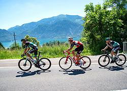 30.06.2019, Mondsee, AUT, Staatsmeisterschaft, Mondsee 5 Seen Radmarathon, im Bild v.l. Patrick Konrad (AUT, Bora - Hansgrohe), Michael Gogl (AUT, Trek - Segafredo), Gregor Mühlberger (AUT, Bora - Hansgrohe) // during the Austrian State Championship 5 lakes cycling marathon. Mondsee, Austria on 2019/06/30. EXPA Pictures © 2019, PhotoCredit: EXPA/ Reinhard Eisenbauer