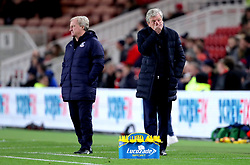 Crystal Palace manager Roy Hodgson reacts on the touchline during the Carabao Cup, Fourth Round match at the Riverside Stadium, Middlesbrough.
