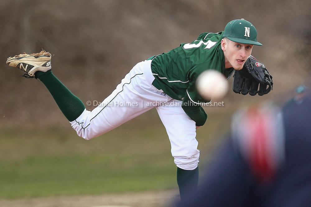 (4/17/18, UPTON, MA) Nipmuc's J.P Lucier delivers a pitch during the baseball game against Valley Tech at Blackstone Valley Tech in Upton on Tuesday. [Daily News and Wicked Local Photo/Dan Holmes]