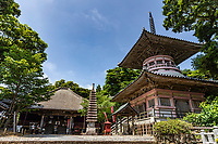 """Horsumisakiji Temple -  The twenty-fourth temple on pilgrimageis Hotsumisakiji, located overlooking Cape Muroto at the very southern tip of the Muroto Peninsula. The name itself means """"Cape Temple"""".  Though it is quite a slog to reach, the temple is a particularly popular one, due to it being one of the few sites that has reliable, historical records thatKobo Daishi actually visited the place, but mostly due to the legend that it was here that he attained enlightenment - he came here at age 19 after spending time attempting to reach enlightenment at Mount Tairyu. He entered a cave down on the seashore below the temple and vowed to remain there until he reached enlightenment. The cave, called Mikurodo, is still there, near where the footpath begins up to the temple."""