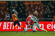 Goal 1-1 Barnet forward Shaquile Coulthirst (10)  scores a goal during the The FA Cup fourth round match between Barnet and Brentford at The Hive Stadium, London, England on 28 January 2019.