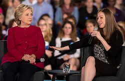 Oct. 04, 2016 - Haverford, Pennsylvania, U.S. - HILLARY CLINTON and CHELSEA CLINTON engage in a conversation with Delaware County families at the Haverford Community Recreation & Community Center. (Credit Image: © Brian Cahn via ZUMA Wire)