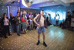 © Licensed to London News Pictures . 05/04/2015 . Manchester , UK . Dancer JOSHUA HUBBARD performs . Final party at the Corner House 's historical location on Oxford Road , before moving to First Street under a new name . Featuring several dance floors , drag queens , dance and performance art displays . Photo credit : Joel Goodman/LNP