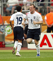 Photo: Chris Ratcliffe.<br /> England v Trinidad & Tobago. Group B, FIFA World Cup 2006. 15/06/2006.<br /> Wayne Rooney and Aaron Lennon made the difference.