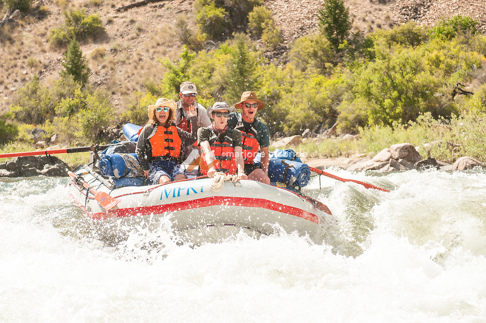 Excitement while Rafting Tappan Falls on the Middle Fork of the Salmon River, Idaho.