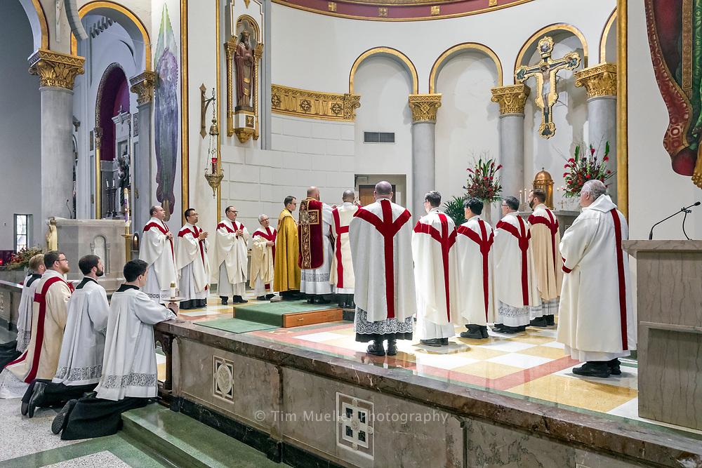Fr. David Dawson celebrates his first Mass at Sacred Heart of Jesus Catholic Church Sunday, May 23, 2021.