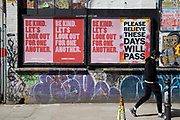 Virus street art and graffiti in Shoreditch as lockdown continues and people observe the stay at home message in the capital on 12th May 2020 in London, England, United Kingdom. Coronavirus or Covid-19 is a new respiratory illness that has not previously been seen in humans. While much or Europe has been placed into lockdown, the UK government has now announced a slight relaxation of the stringent rules as part of their long term strategy, and in particular social distancing.