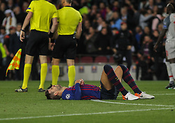 May 1, 2019 - Barcelona, Barcelona, Spain - Pique of Barcelona in action during UEFA Champions League football match, between Barcelona and Liverpool, May 01th, in Camp Nou stadium in Barcelona, Spain. (Credit Image: © AFP7 via ZUMA Wire)