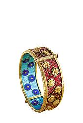 Alexis Falise enameled sur paillons 118kt gold chrysanthemums bracelet